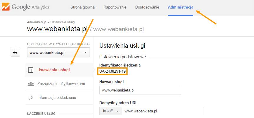 Google Analytics identyfikator UA